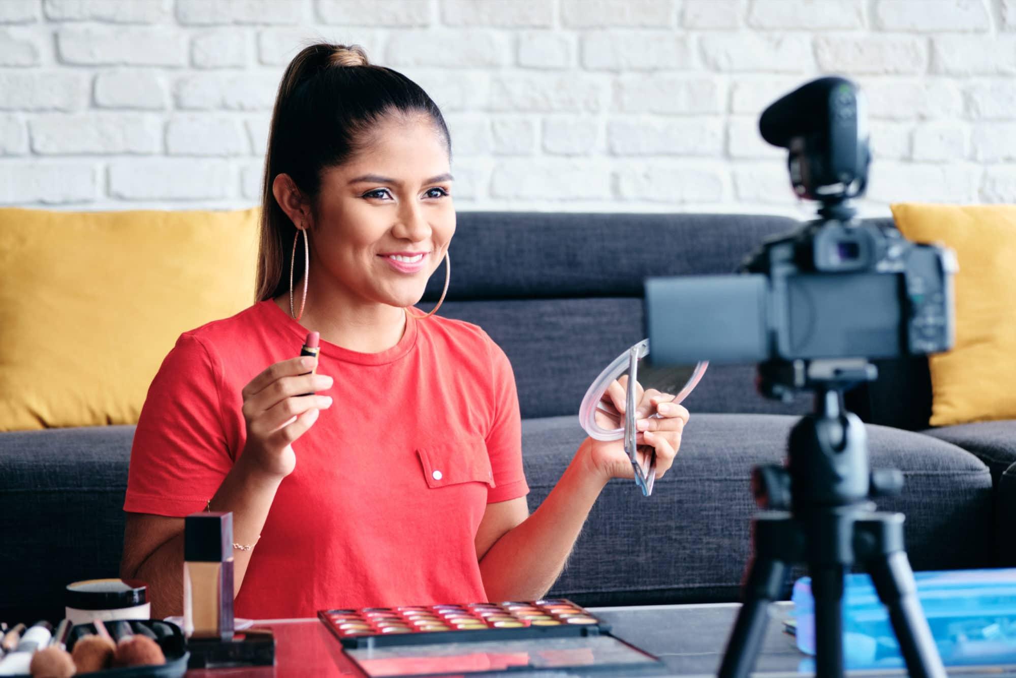 Girl Recording Vlog Video Blog At Home With Digital Camera